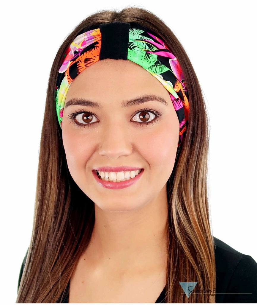 Stretch Headband - Large Flowers On Black Headbands