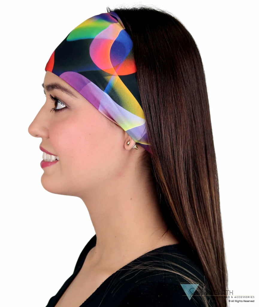 Stretch Headband - Multi Color Smoke On Black Headbands