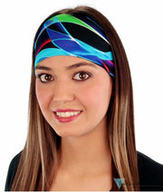 Stretch Headband - Multi Color Stripes In Blues Greens And Purples Headbands