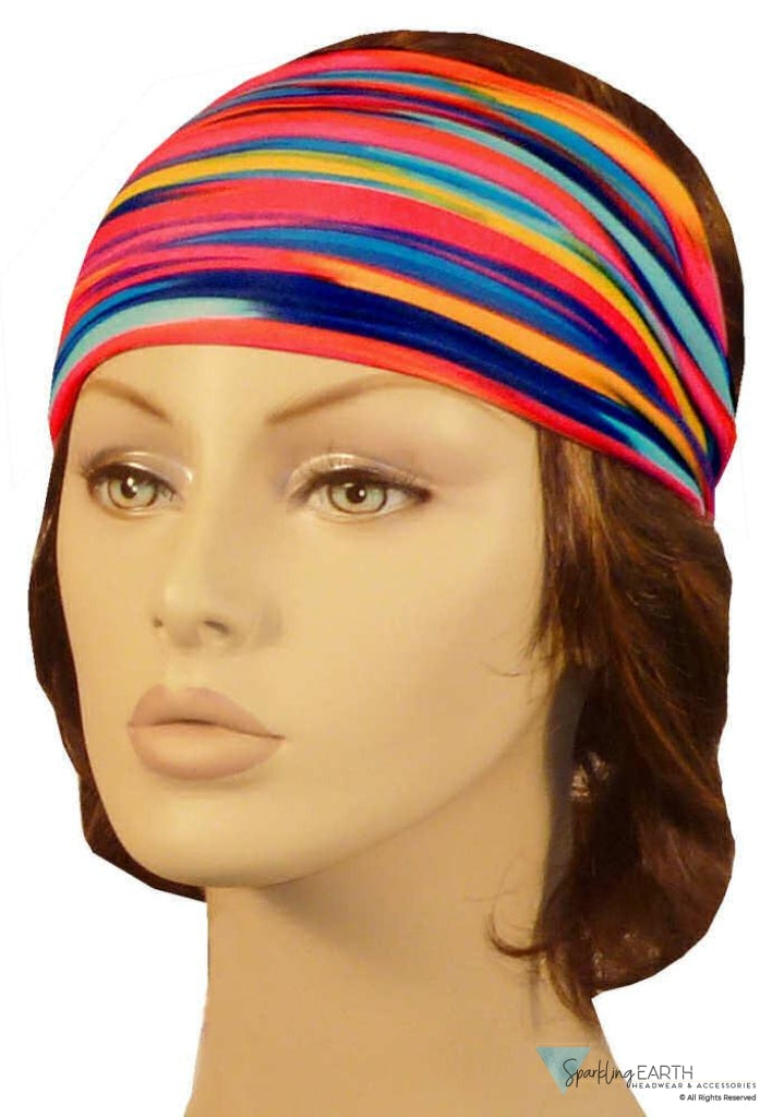 Stretch Headband-Multi Colored Stripes Skull Caps Headwear & More