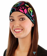 Stretch Headband - Neon Peace Signs On Black Headbands