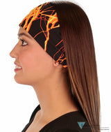 Stretch Headband - Orange & Yellow Lightning On Black Headbands