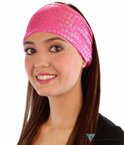 Stretch Headband - Small Silver Squares On Hot Pink Headbands