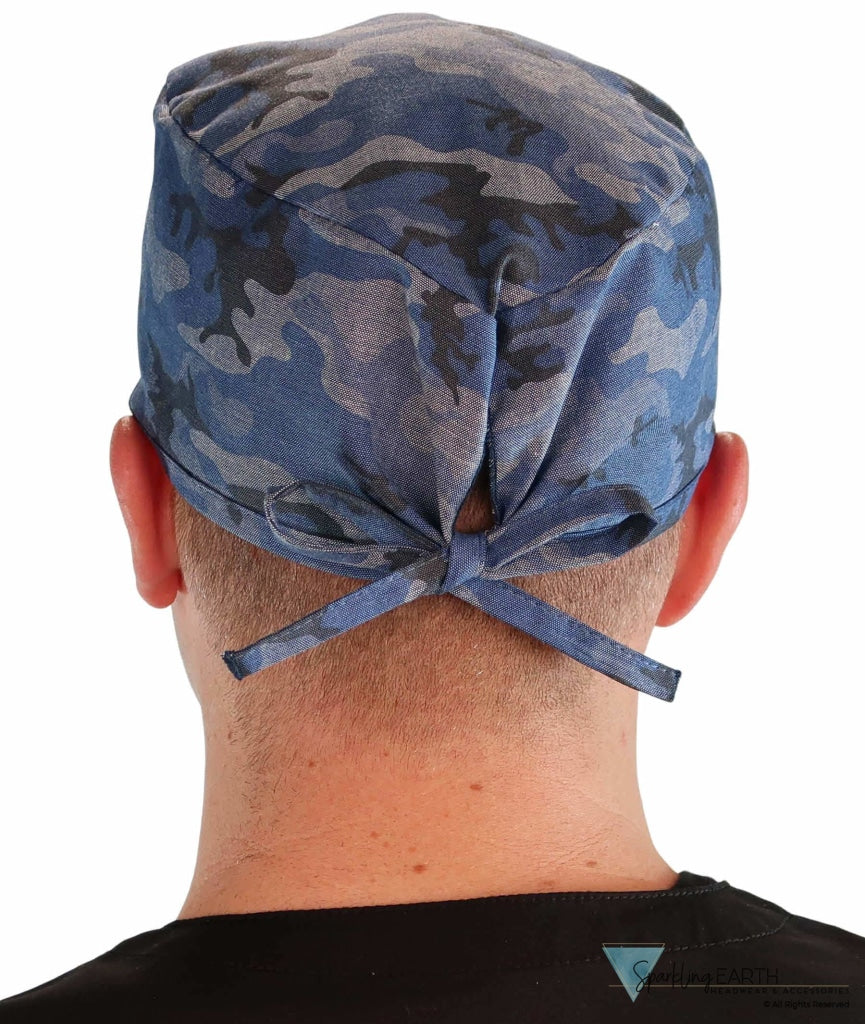 Surgical Scrub Cap - Distressed Blue Camouflage Caps