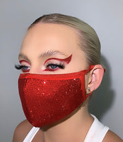 She Devil RED RHINESTONE MASK