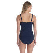 V Neck Underwire Over the Shoulder Tankini Top