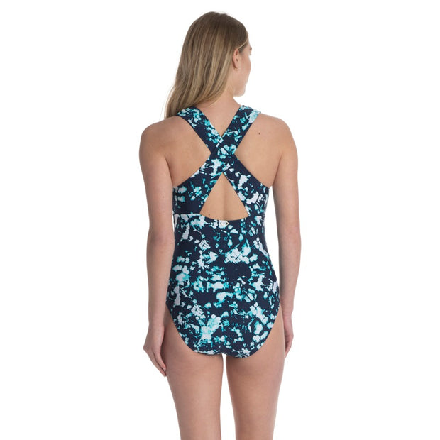 Tie Dye Twin Wide Strap X Back One Piece