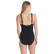 Texture Belted Over the Shoulder One Piece