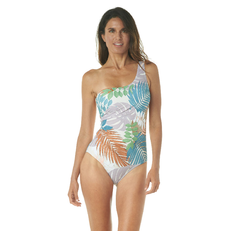 PALM PALM ONE SHOULDER ONE PIECE