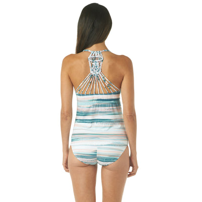 Melted Stripe Macrame Tankini Top