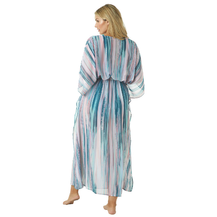 MELTED STRIPE KAFTAN COVERUP