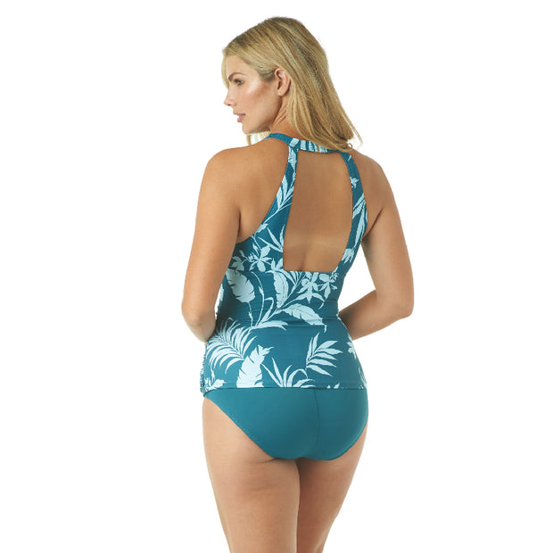 TROPICAL SILHOUETTE HIGH NECK TANKINI TOP
