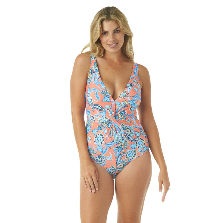 PERSEPHONE FLORAL DRAPED PLUNGE ONE PIECE