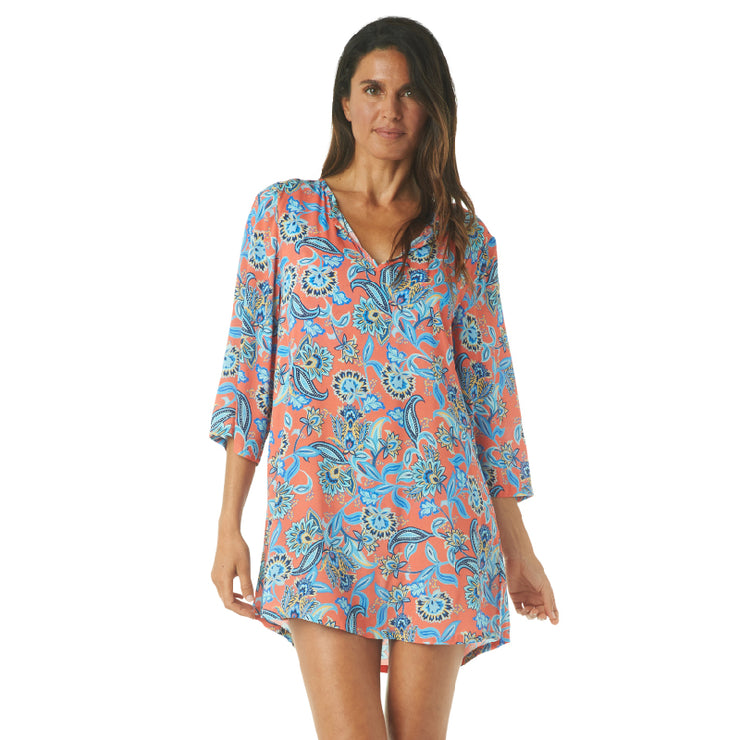 PERSEPHONE FLORAL TUNIC COVERUP