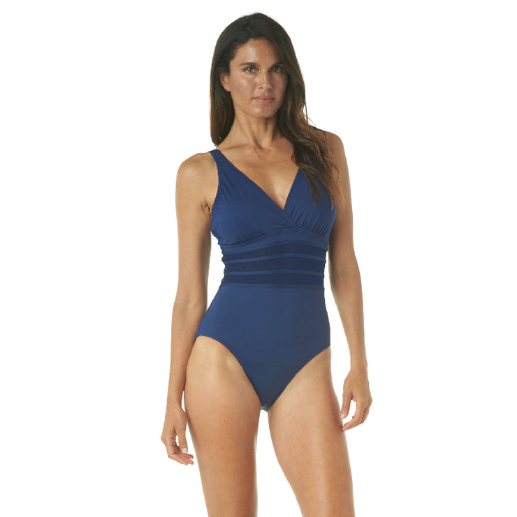 SPORTY SOLIDS V-NECK ONE PIECE