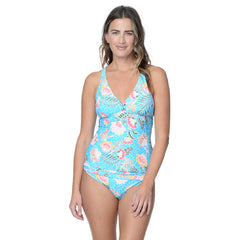 FLORAL REEF TWIST TAB TANKINI TOP