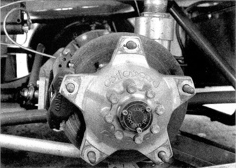 The Wilwood aluminum wide five bubble hub now widely used on stock cars was a radical when introduced