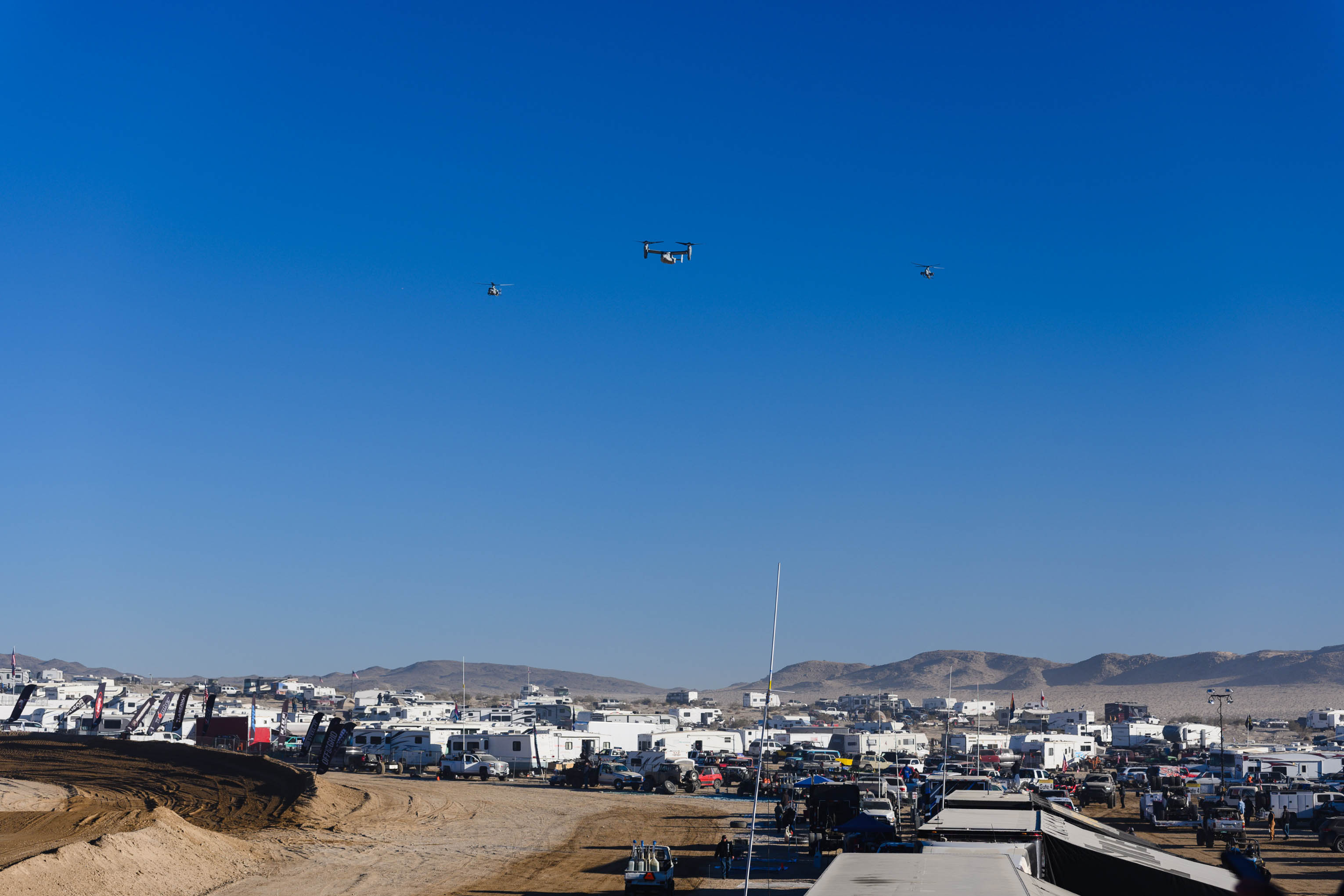 Drones hovering over King of the Hammers event