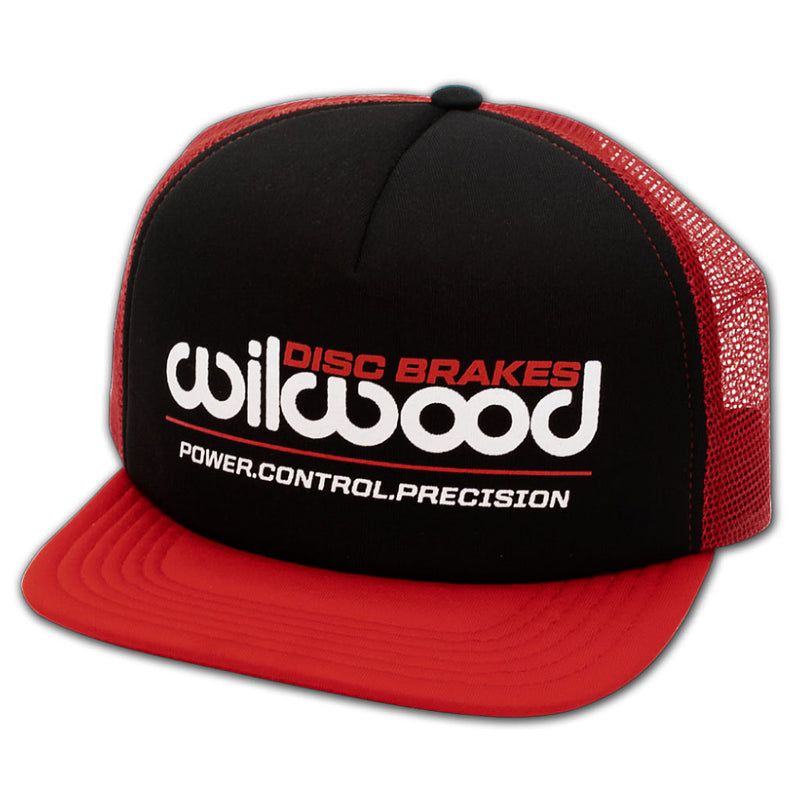 Wilwood Mesh Hat - Flat Bill Black and Red