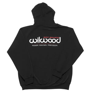 Wilwood Black Hoodie Sweatshirt with large logo on back