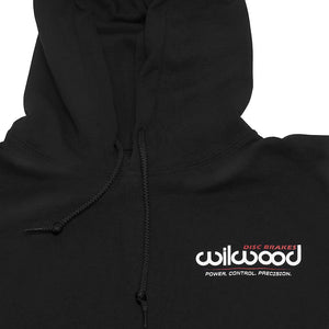 Wilwood Black Hoodie Sweatshirt with logo on front