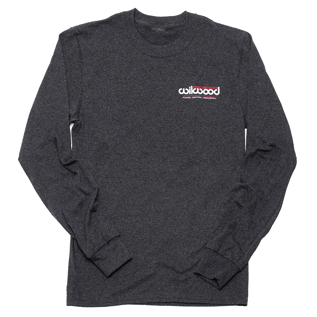 Full front of Wilwood long sleeve grey shirt with Wilwood logo