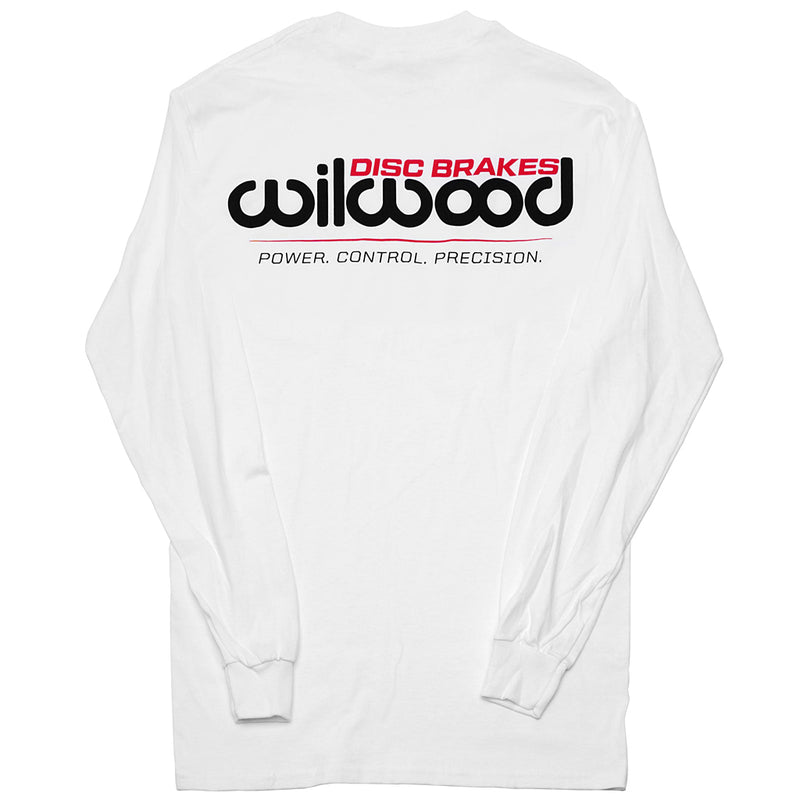 Back of long sleeve shirt with large Wilwood logo