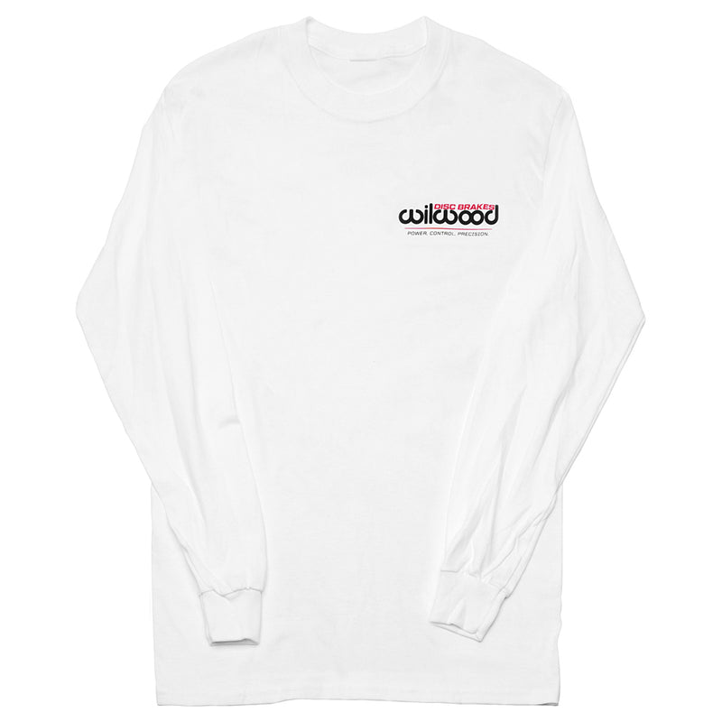 Front of Wilwood long sleeve white shirt with Wilwood logo
