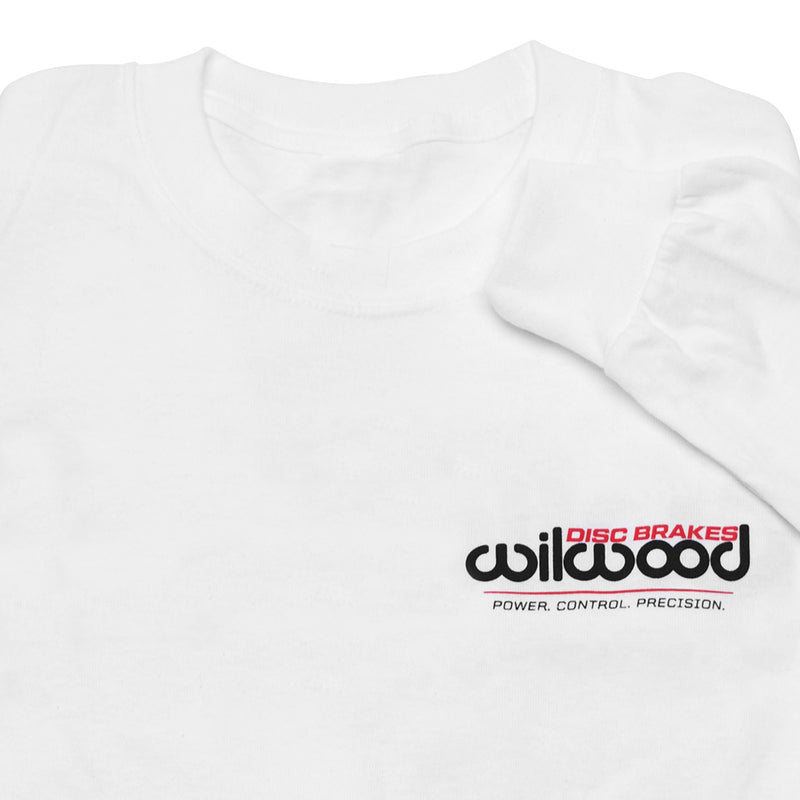Front of Wilwood long sleeve white shirt showing Wilwood logo