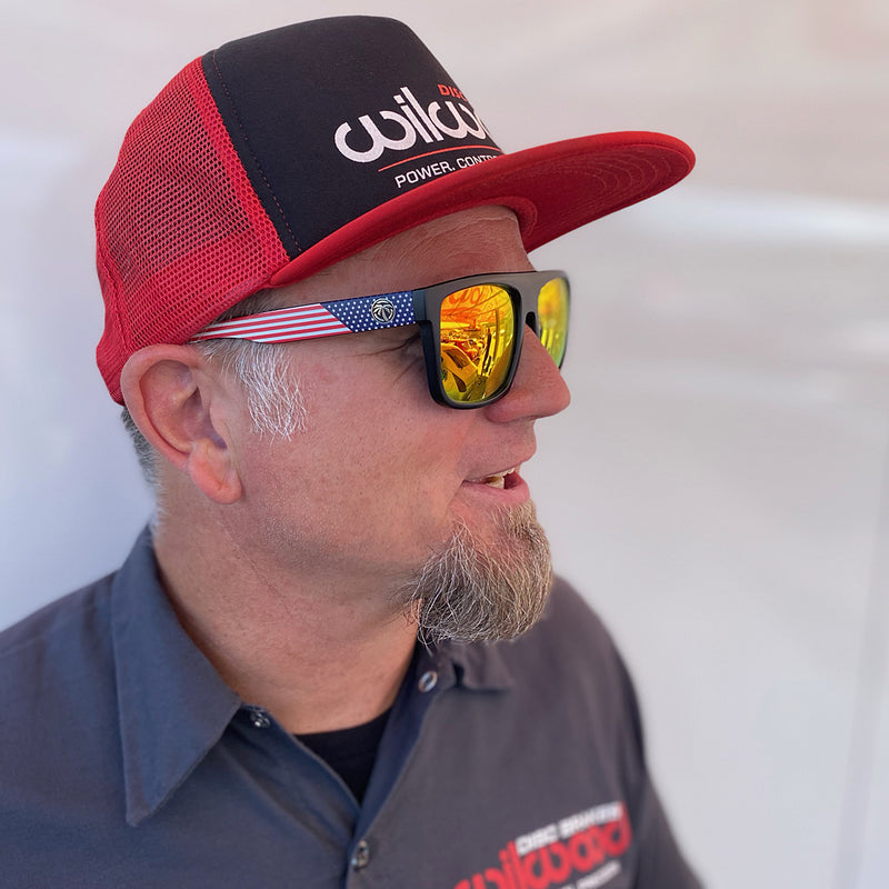 Mike Hammrick wearing Heatwave sunglasses and a Wilwood foam flat bill cap