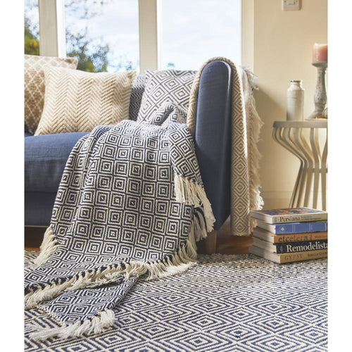 Diamond Throw Navy Hug Rug Woven Hug At Home