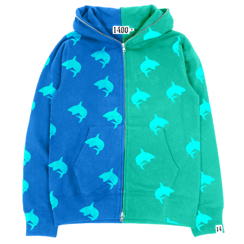 Neon Shark Full-Zip Hoodie Blue/Green