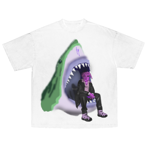Neon Shark Airbrush Tee White
