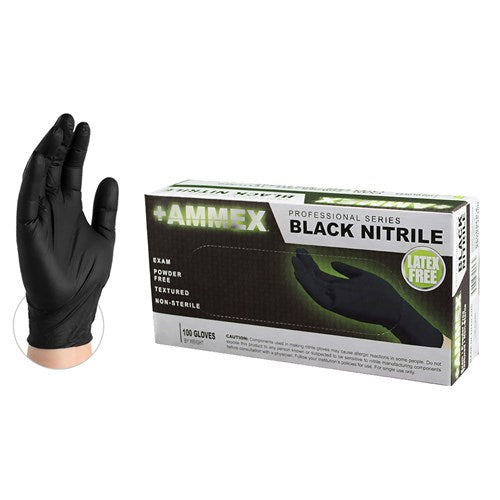 Ammex Nitrile Gloves Exam Grade Black