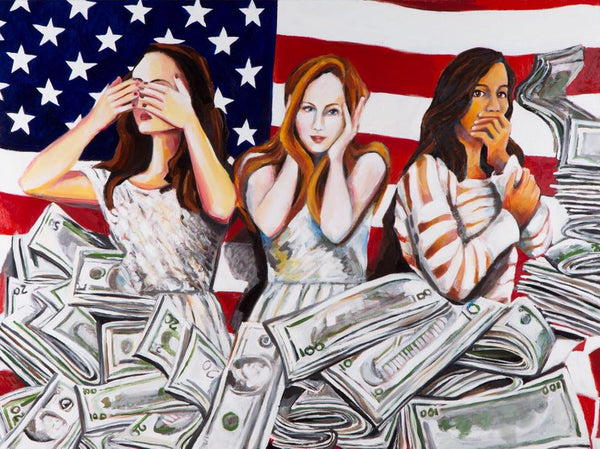 "American Greed 30"" x 40"" Oil on Linen ©Annika Connor 2017"