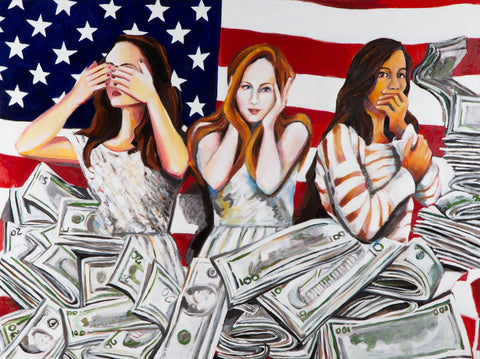American Greed Oil on Linen Painting by Annika Connor