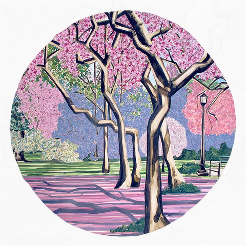 Cherry Blossoms Rounded Beach Towel