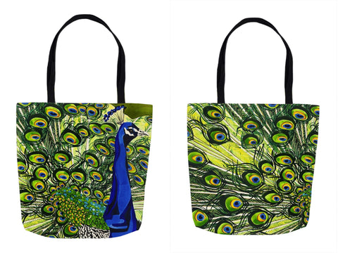 Peacock Tote Bag, Front and Back sides