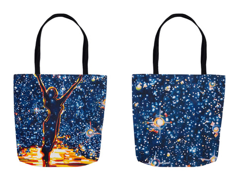 "Front and Back of the Reach for the Stars Tote Bag, available in 3 sizes 13"" x 13"" for $22, 16"" x 16"" for $25, or 18"" X 18"" for $27"