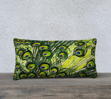 "Load image into Gallery viewer, Peacock Feathers 24"" x 12"" Pillowcase"