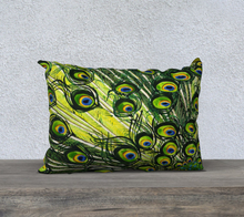 "Load image into Gallery viewer, Peacock Feathers 20"" x 14"" Pillowcase"