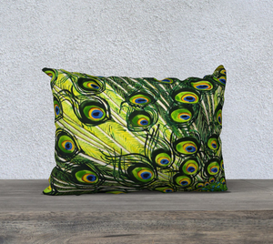 "Peacock Feathers 20"" x 14"" Pillowcase"