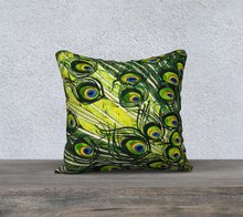 "Load image into Gallery viewer, Peacock Feathers 18"" x 18"" Pillowcase"