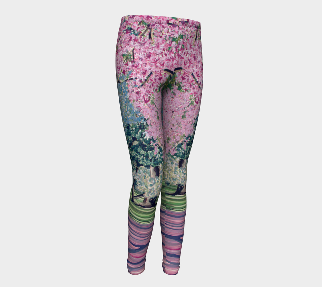 Cherry Blossom Youth Leggings Sizes for Age 4-12
