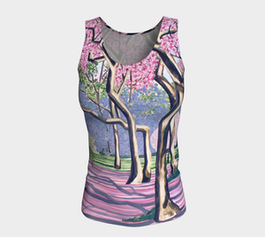 Cherry Blossoms Fitted Tank Top: Long Fit