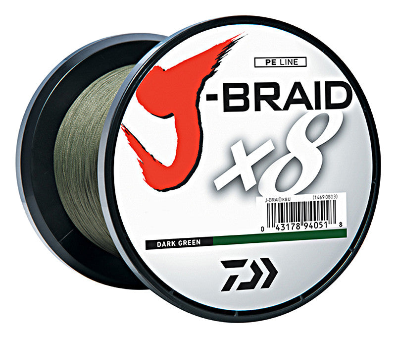Daiwa J-Braid X8 Braided Line 1650 Yards Dark Green