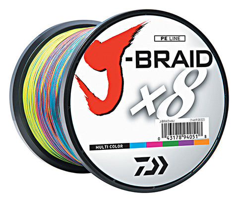 DAIWA J-BRAID BRAIDED LINE 1650 YARDS MULTI-COLOR