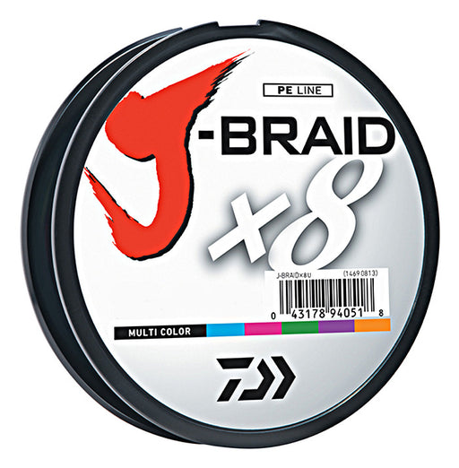 Daiwa J-Braid X8 Braided Line 550 Yards Multi-Color