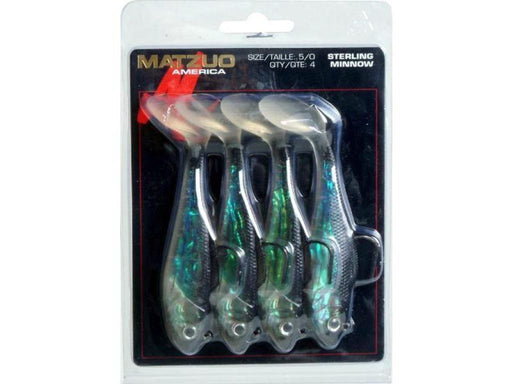 Matzuo Sterling Minnow 4 1/2 inch Soft Plastic Paddle Tail Swimbait 4 Pack