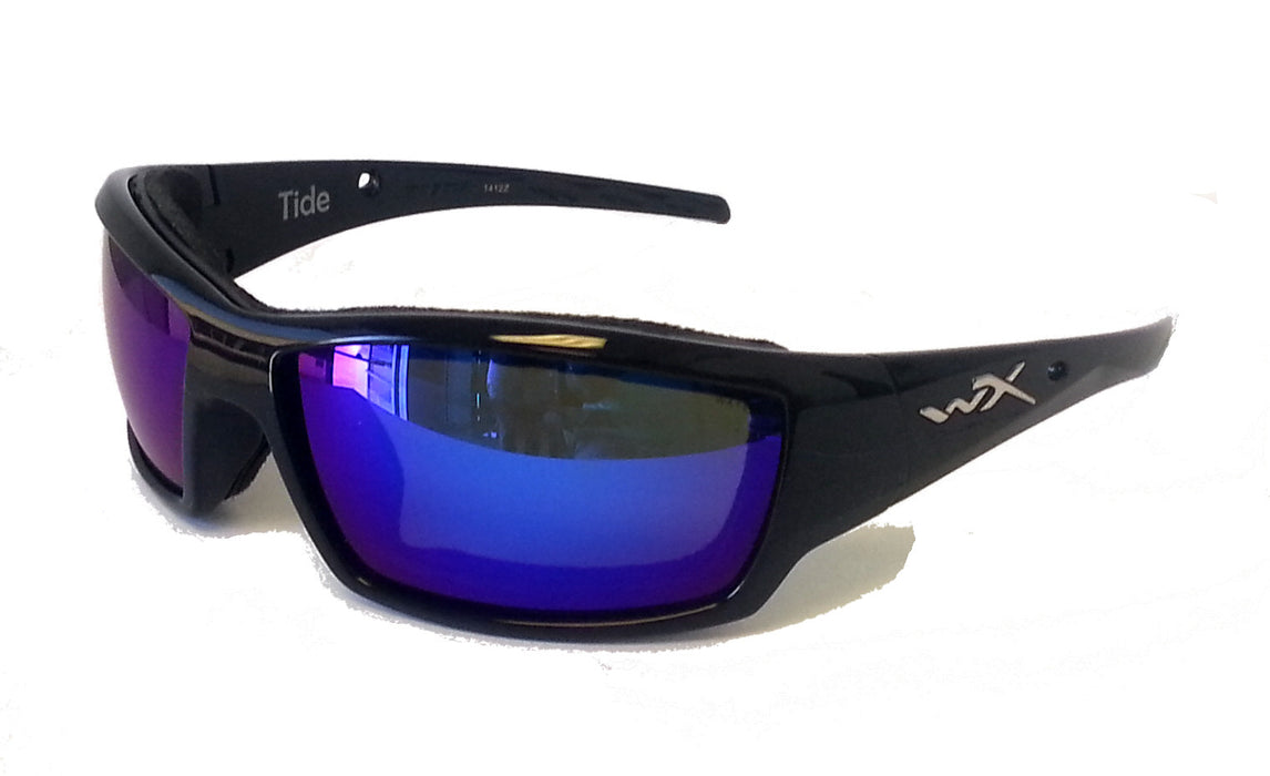 424e04f7fb Home Wiley X Tide Climate Control Polarized Sunglasses. Blue Mirror Lens Gloss  Blk Frame
